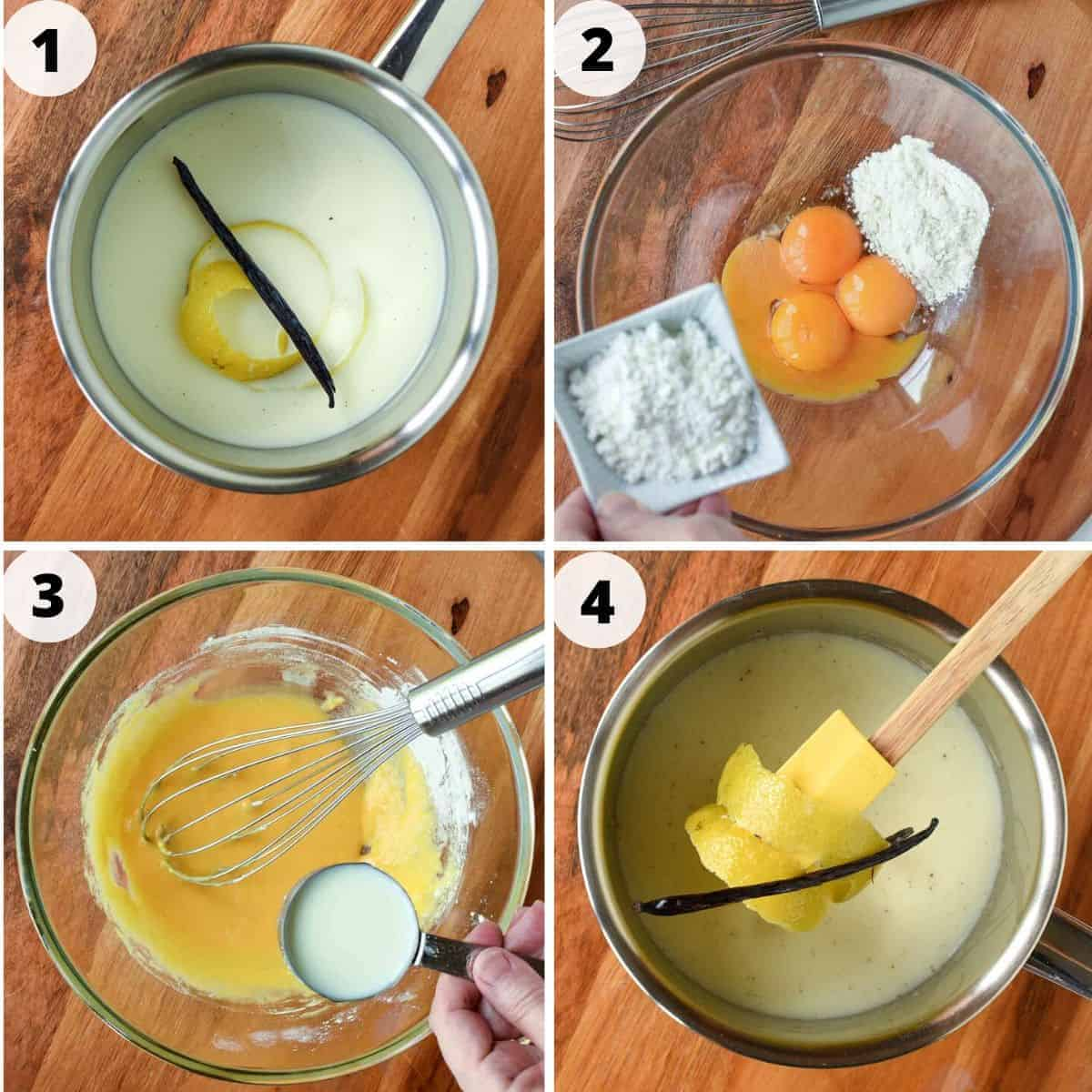 four process images for making pastry cream. image 1 - milk in saucepan with strip of lemon rind and vanilla bean, image 2 - glass bowl filled with egg yolks, flour and more flour being poured in. 3 image - yellow custard mixture with milk being whisked in. image 4 - strip of lemon rind and vanilla bean on spatula suspended over saucepan of milk.