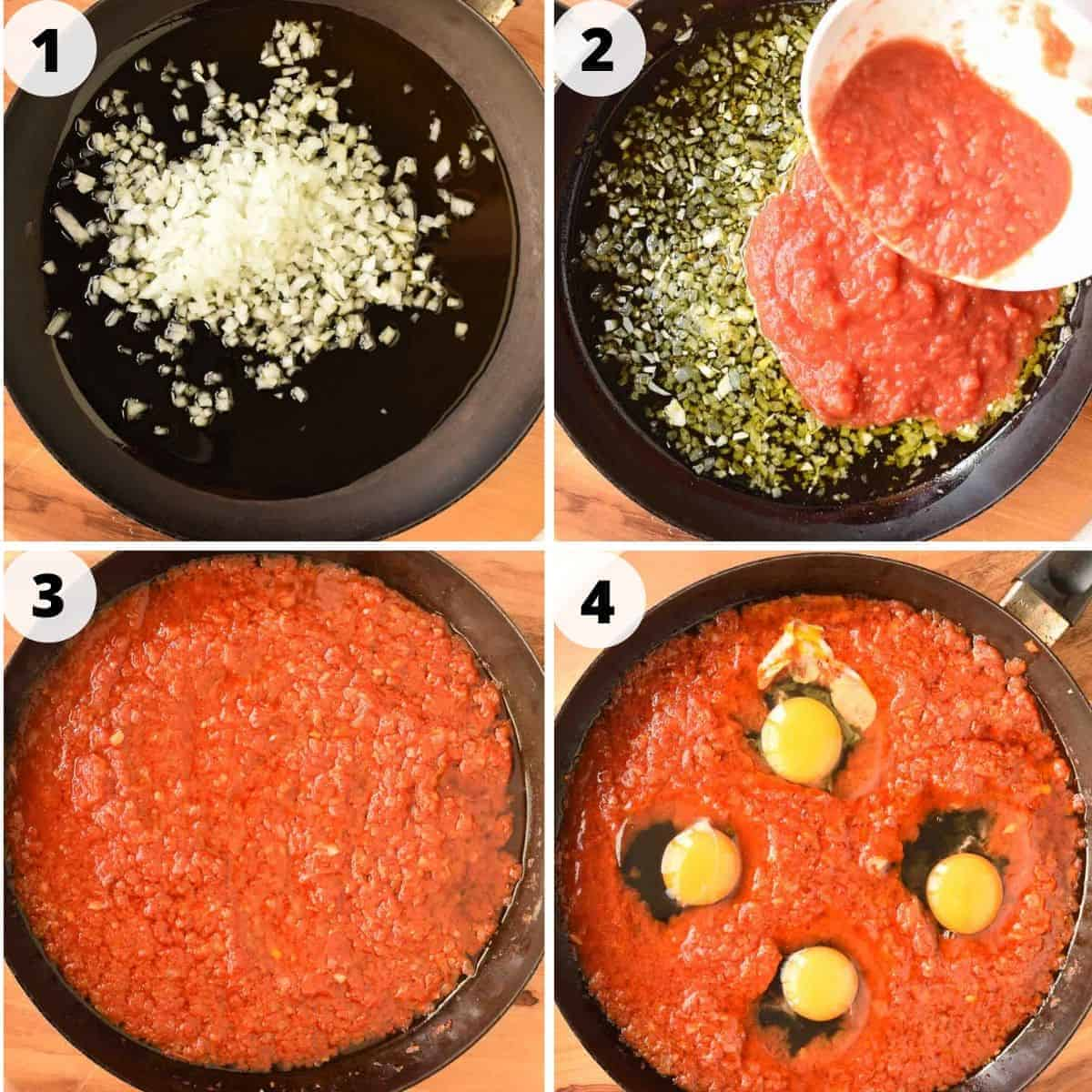Four images: image 1 - chopped onions in a black pan; image 2 - crushed tomatoes pouring into black pan; image 3 - crushed tomatoes in black pan; images 4 - four raw eggs in tomato sauce in black pan