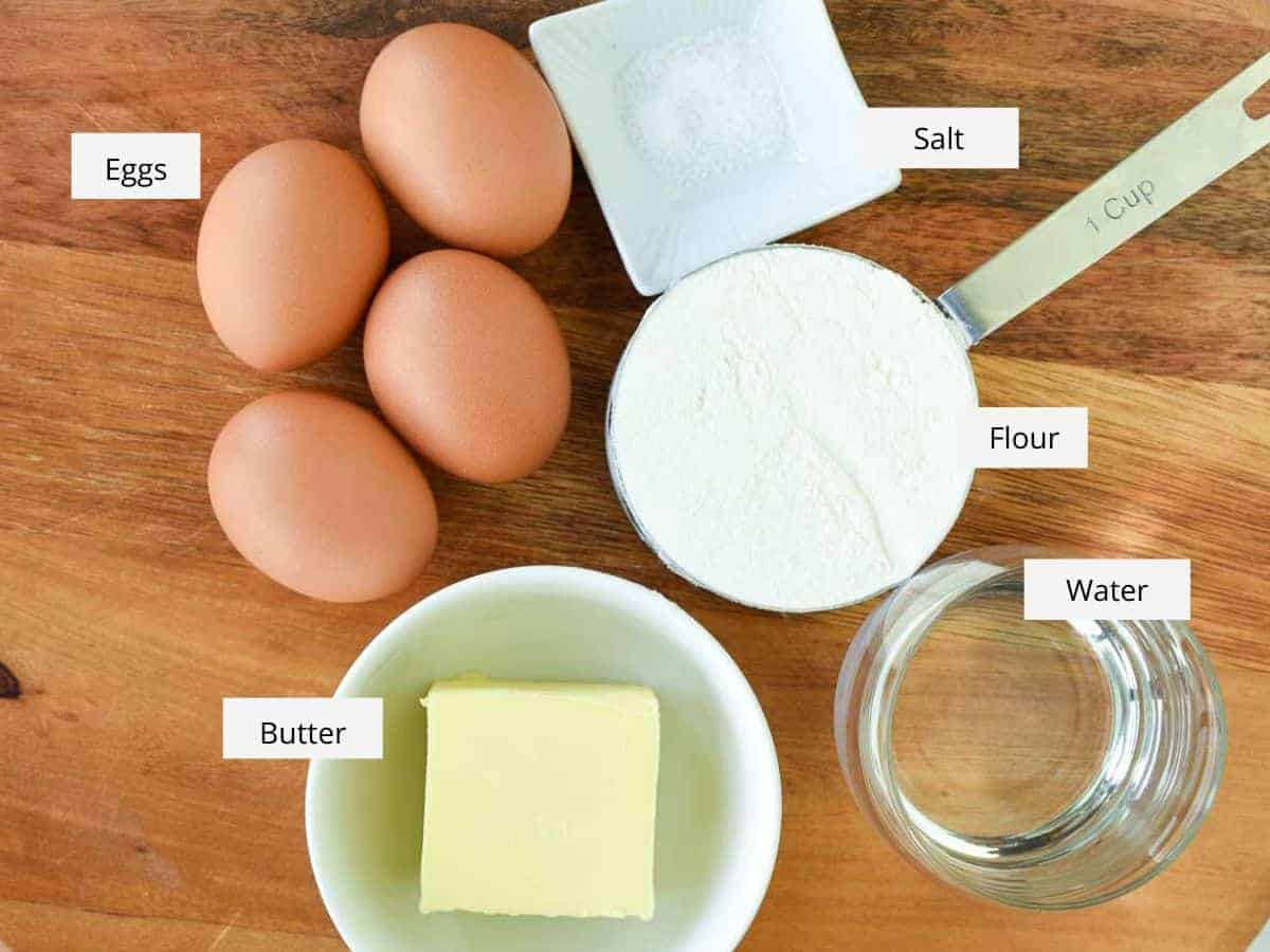 eggs, salt, flour, water and butter viewed from above