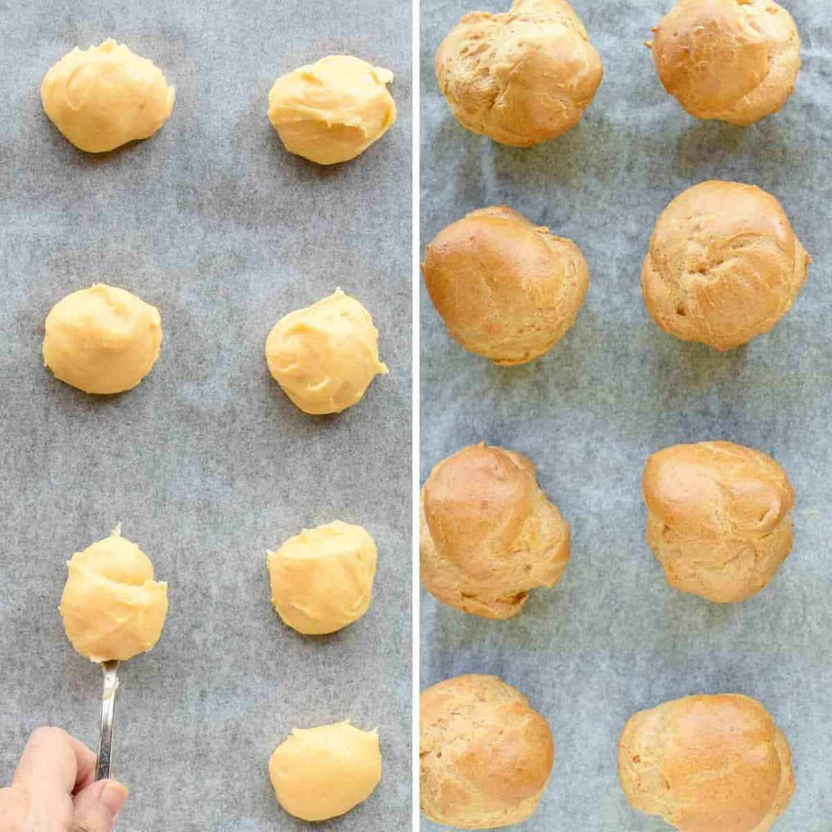 two images -one of unbaked choux pastry batter, second is baked choux pastry puffs