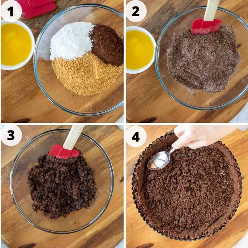 four images showing preparation of chocolate crumb crust