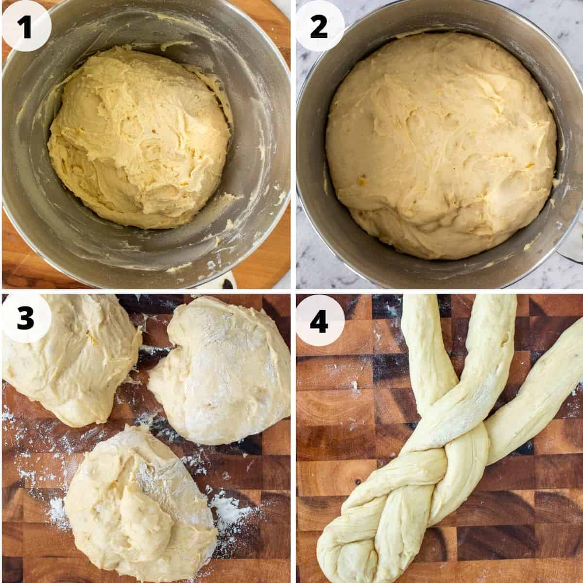 Four images: image 1- bread dough in stainless steel bowl; image 2 - risen bread dough in stainless steel bowl; image 3 - three balls of bread dough on wooden board; image 4 - three bread dough strands half plaited on wooden board