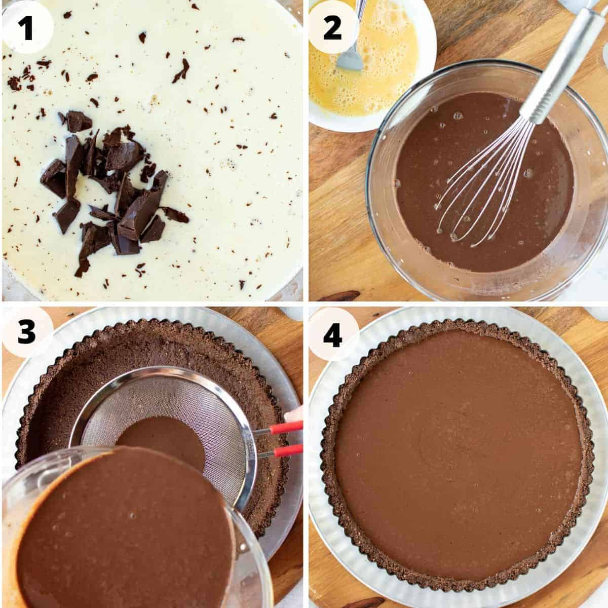 four images showing preparation of chocolate tart filling.