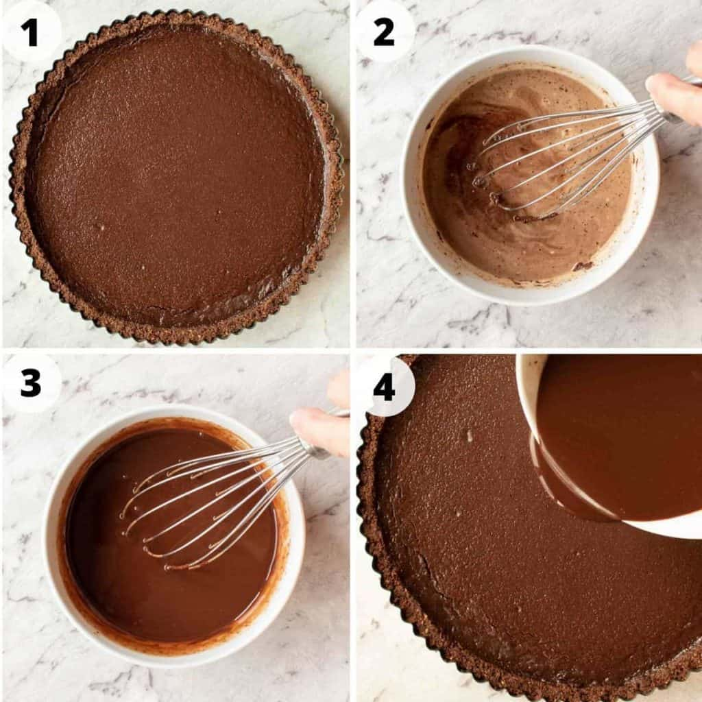 four images showing preparation of chocolate ganache topping