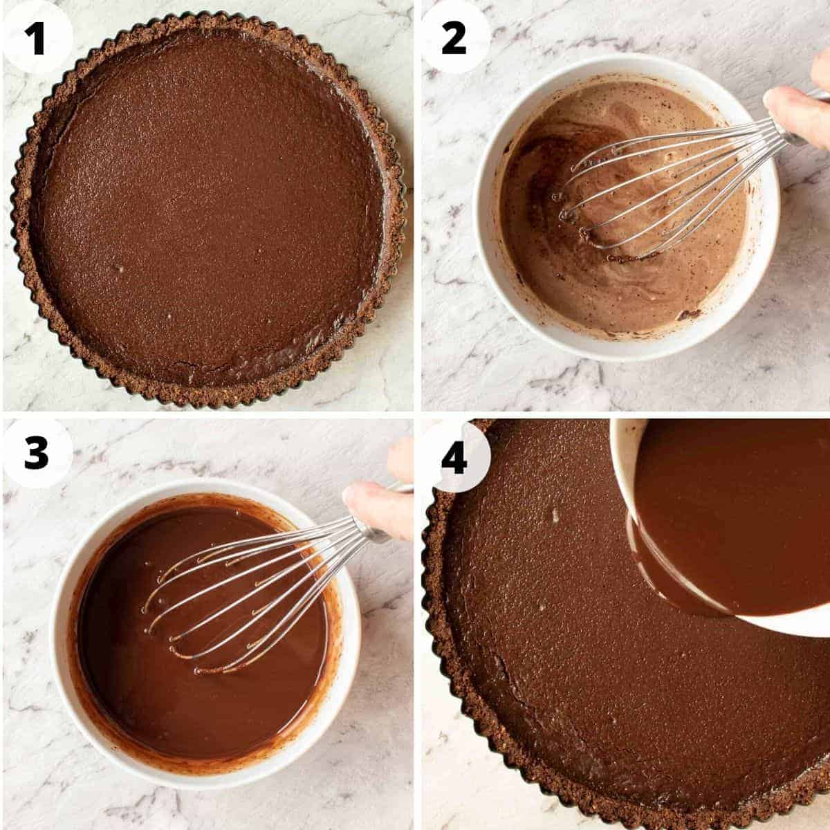 four images showing preparation of chocolate ganache topping.