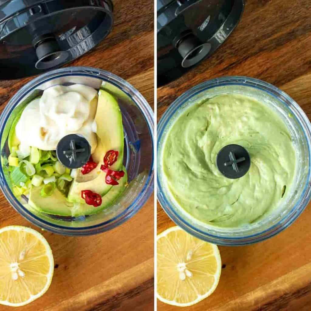 two images - first image opened mini food processor filled with avocado, chilli, spring onion and avocado with half lemon on the side; second image opened mini food processor filled with avocado dip and half lemon on the side