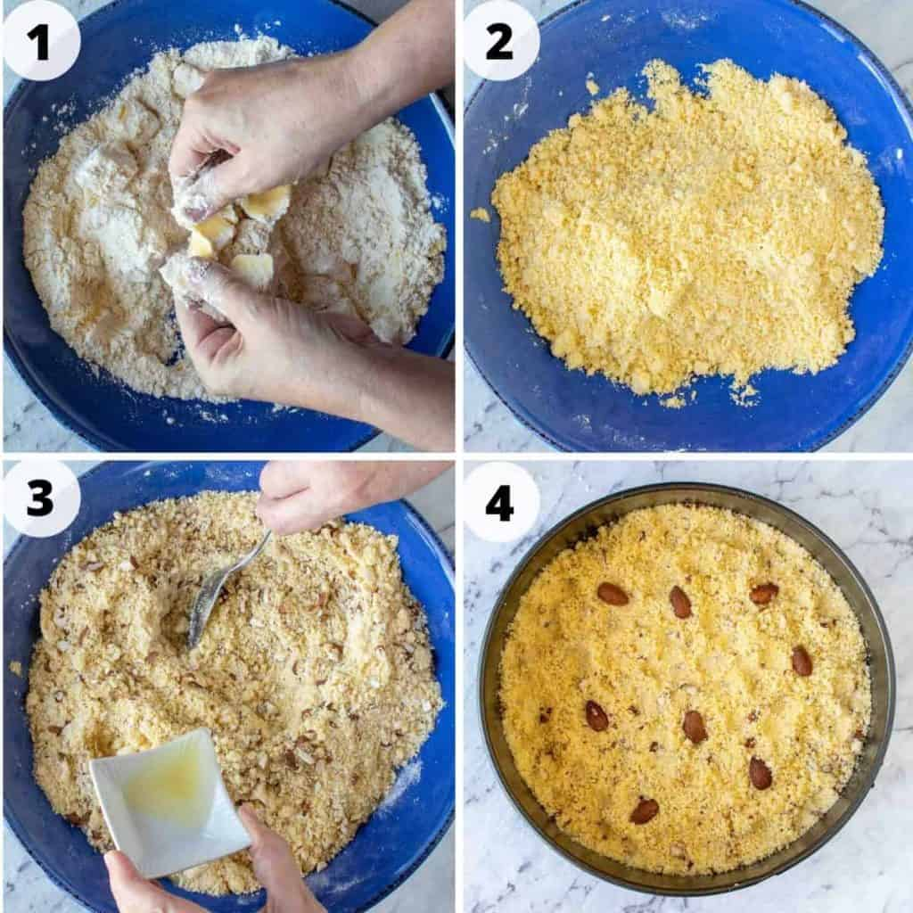 Four images - #1 butter being rubbed into flour; #2 yellow uncooked crumble in blue bowl; #3 nutty crumble in blue bowl with oil pouring in; #4 crumble pressed into round pan with almonds scattered on top