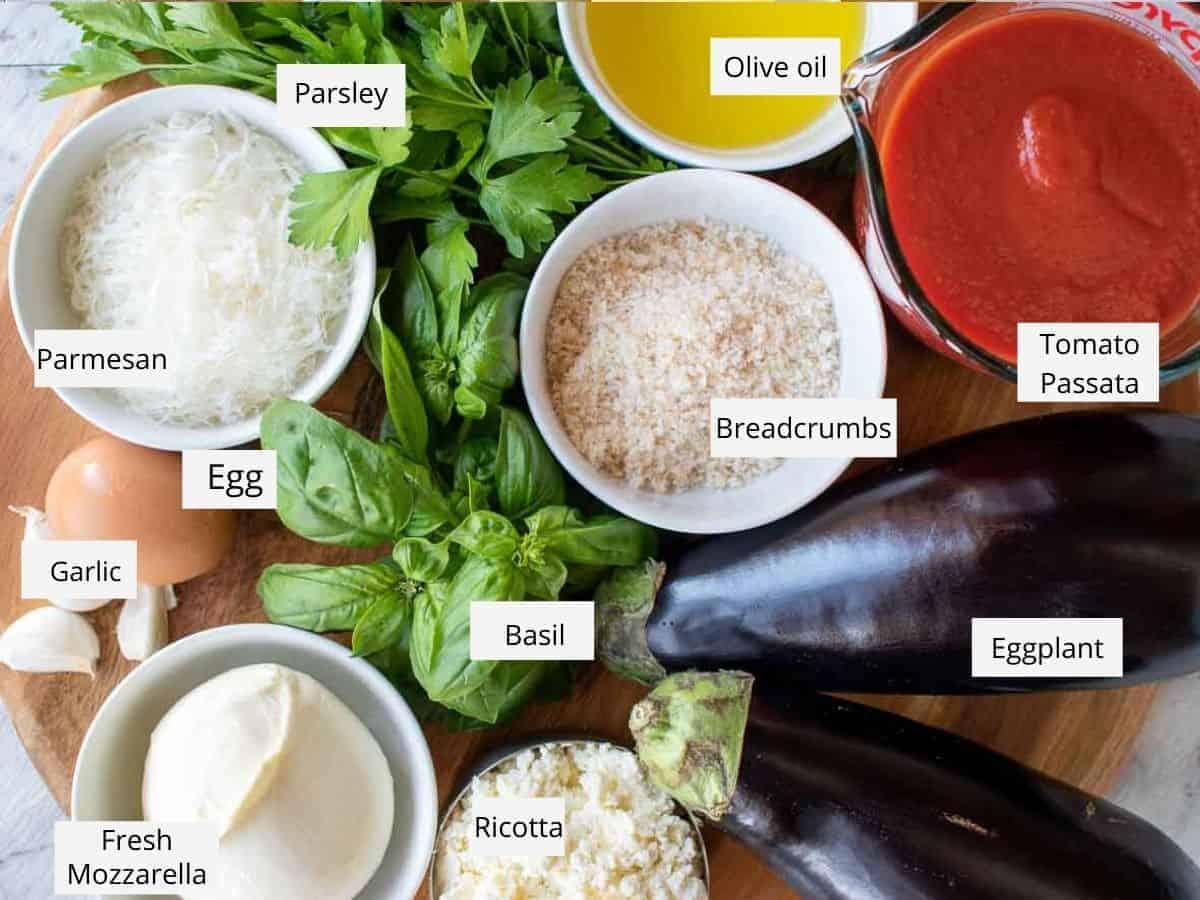 Ingredients for eggplant involtini.