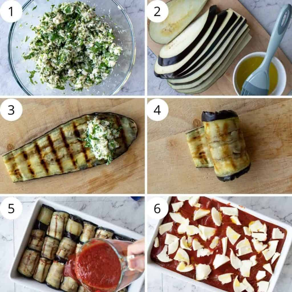 photo collage showing preparation of eggplant involtini