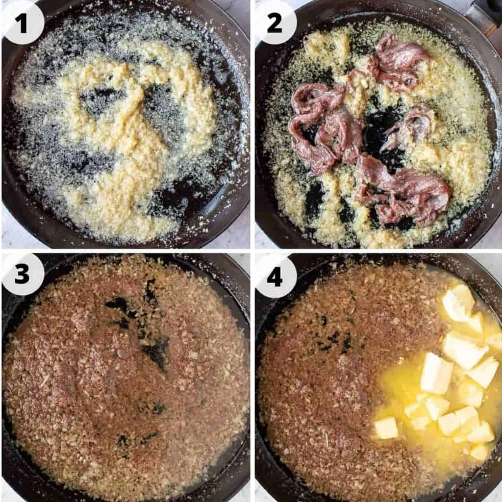 four images of preparation of bagna cauda