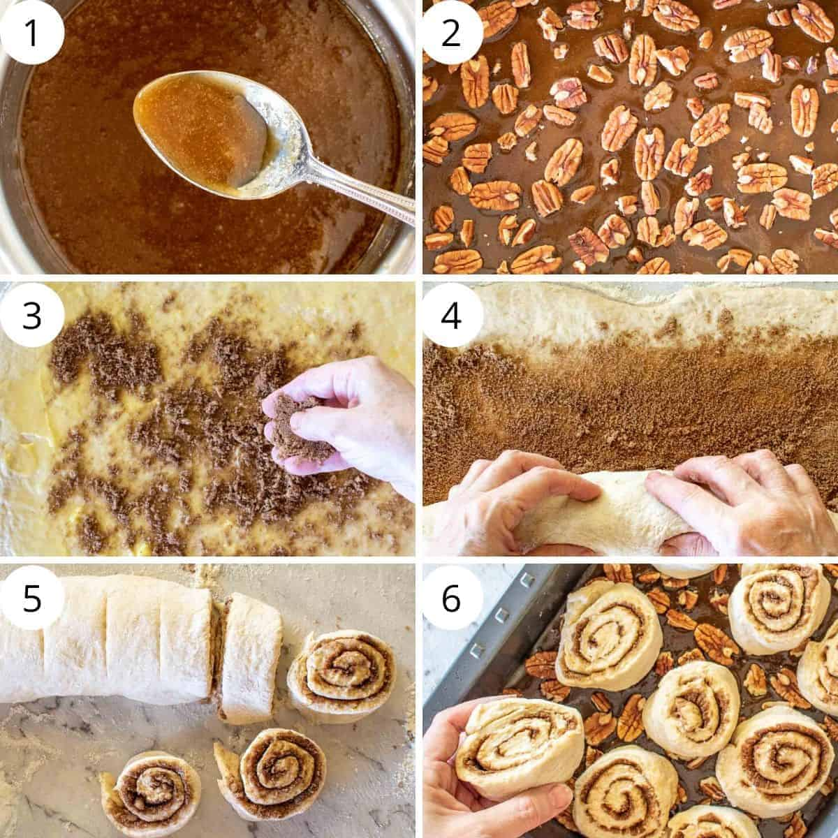 photo collage: image 1 caramel in saucepan and on spoon, image 2 pecans on caramel, image 3 scattering brown sugar over dough, image 4 rolling up dough, image 5 rolled up sticky bun dough and some slices cut, placing raw sticky buns in baking pan