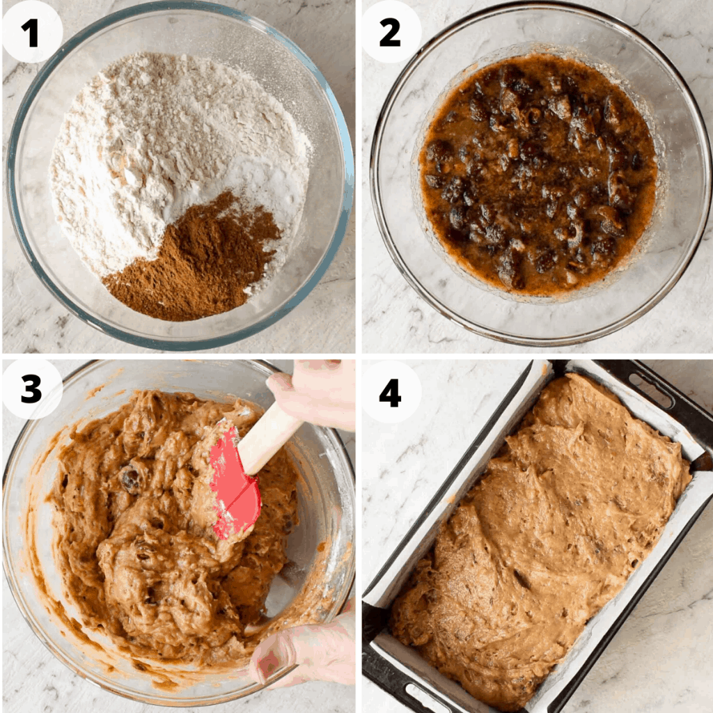 four image collage.  image one: flour and spices in glass bowl. image two: chopped dates in water and sugar mixture. image three: brown batter being stirred with red spatula. image four: brown batter in loaf pan