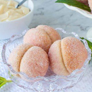 three Italian peach cookies in glass bowl