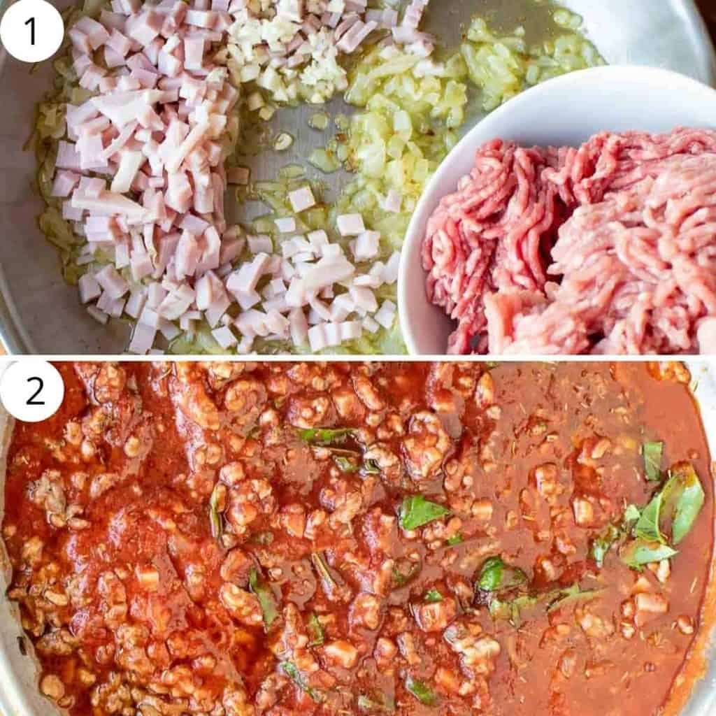 two images. top image is sauteed onion, chopped bacon and minced meat. Bottom image is tomato and minced meat ragù sauce