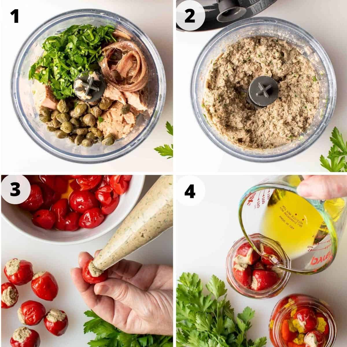 four images of preparation of stuffed red cherry peppers