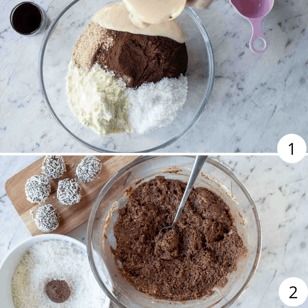two images showing how to make rum balls