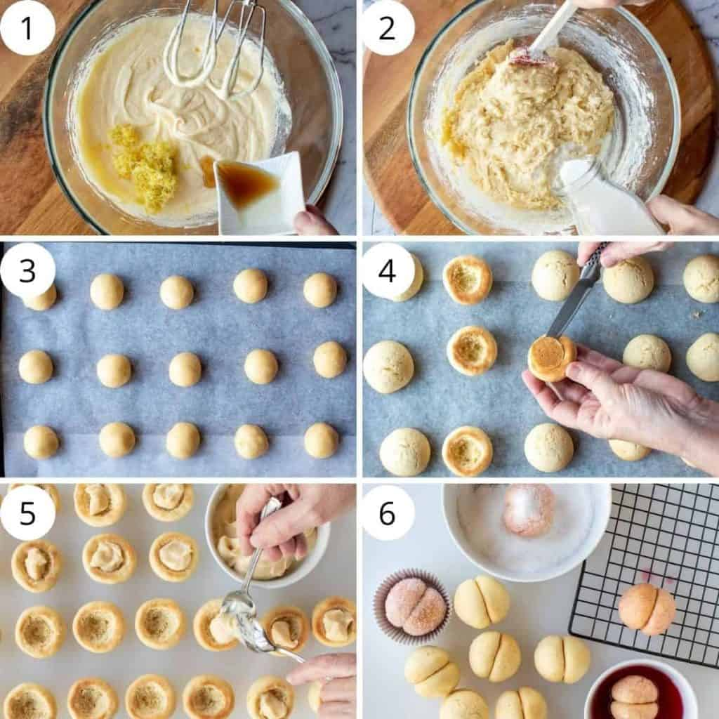 six images showing how to make Italian peach cookies