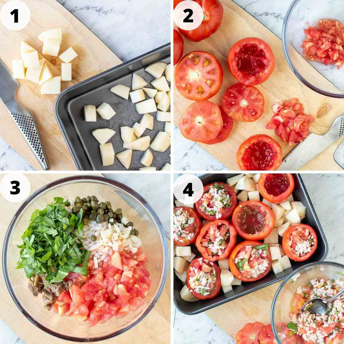 four-step photo collage showing how to make these stuffed tomatoes with rice.