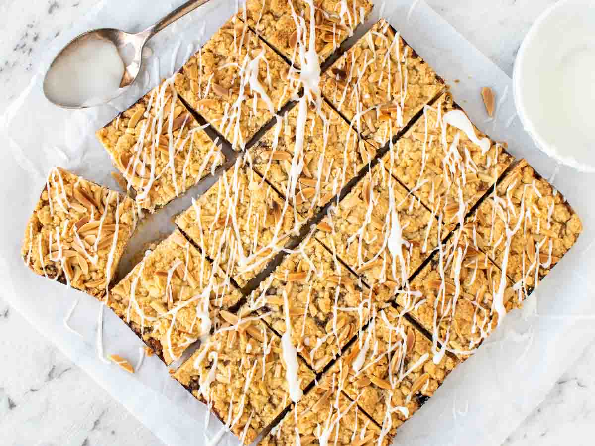 overhead view of baked bars cut into 16 squares.