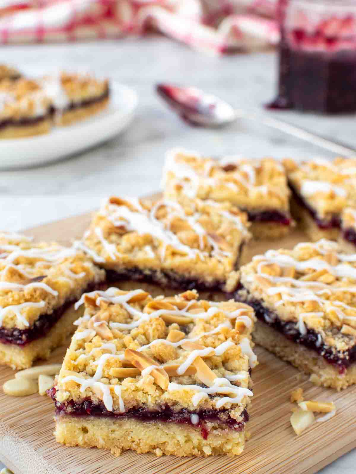 Close up of Raspberry Almond Bars.