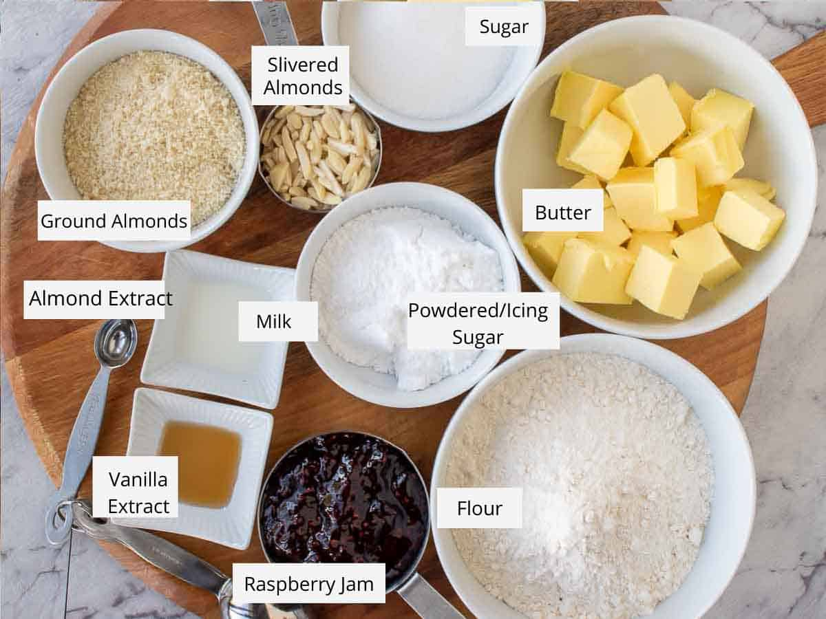ingredients for raspberry crumble bars.