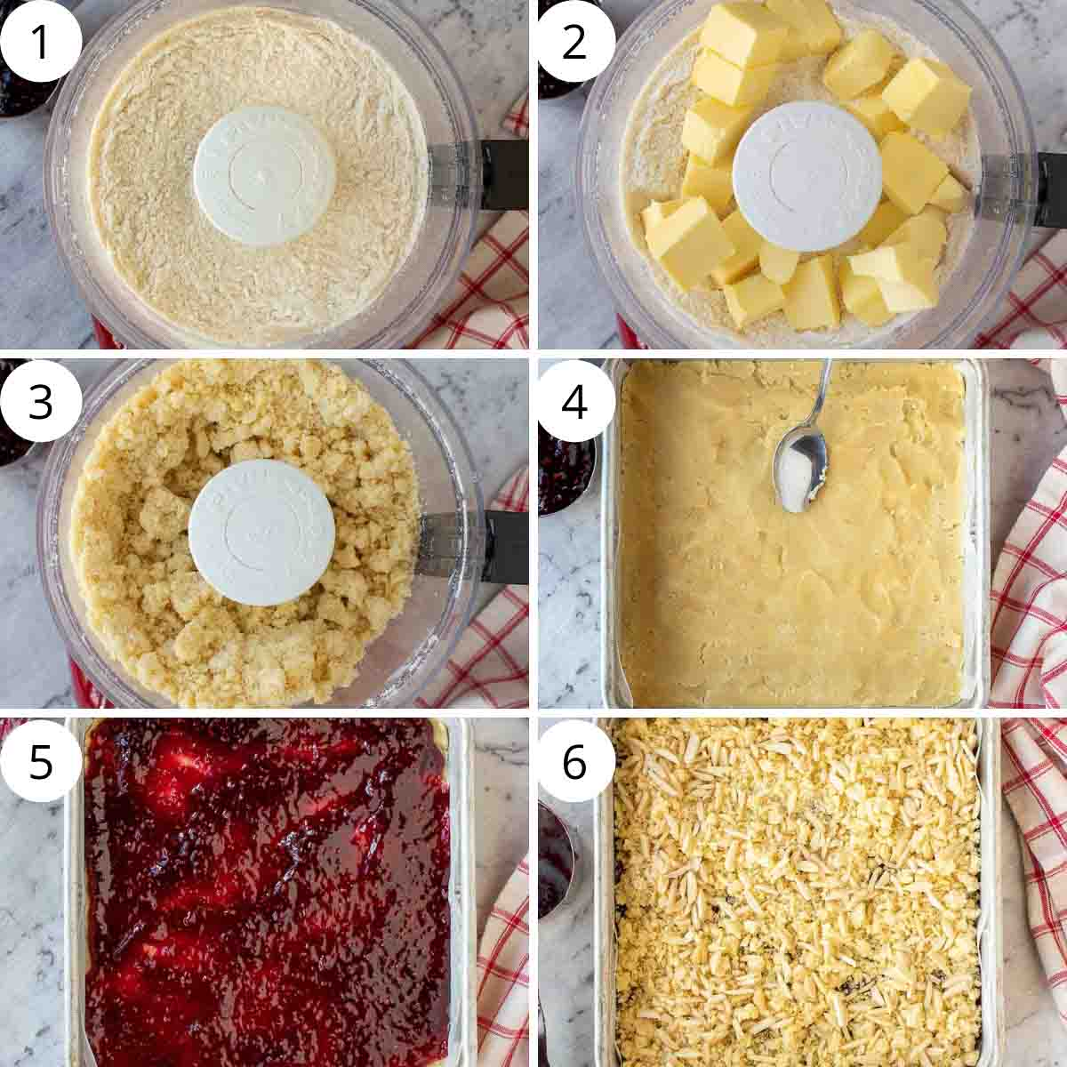six-step photo collage showing how to make these raspberry and almond bars.