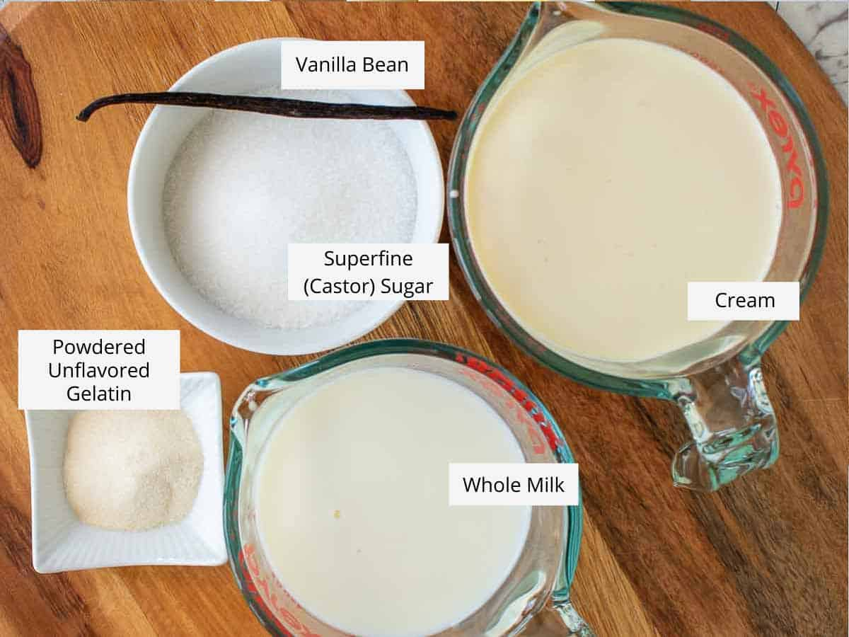 ingredients for vanilla bean panna cotta as in the recipe card.