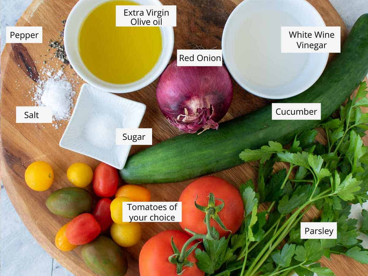 ingredients for cucumber tomato onion salad