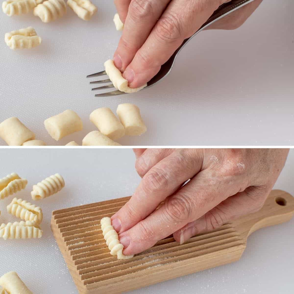 two-step photo collage showing how to shape cavatelli pasta using a fork or a cavatelli board.