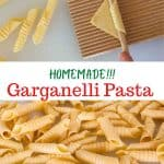 "two images with text overly. top image shows process of making garganelli pasta. bottom images shows a pile of completed garganelli. text reads ""homemade garganelli pasta""."