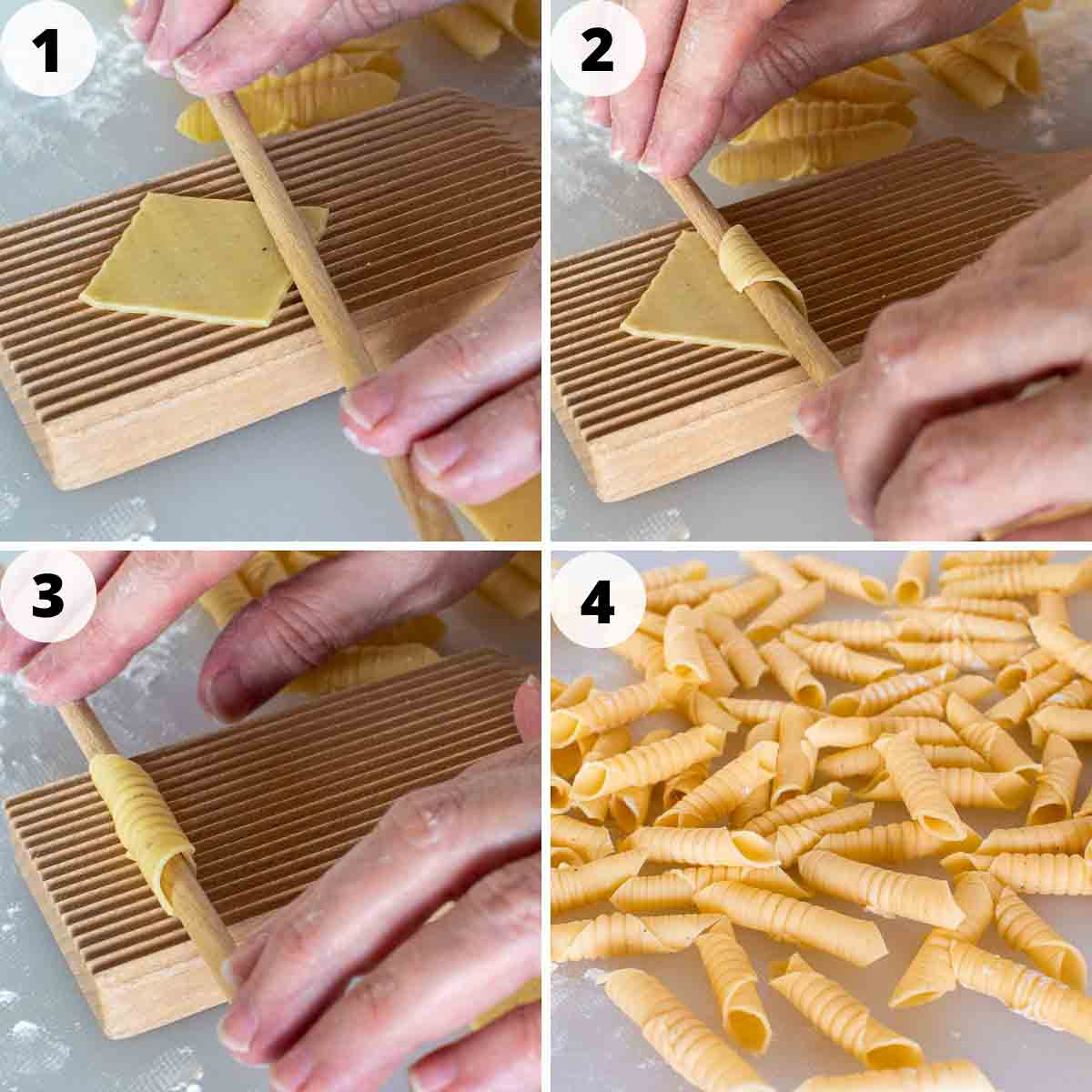 four-step photo collage showing how to shape this garganelli pasta.