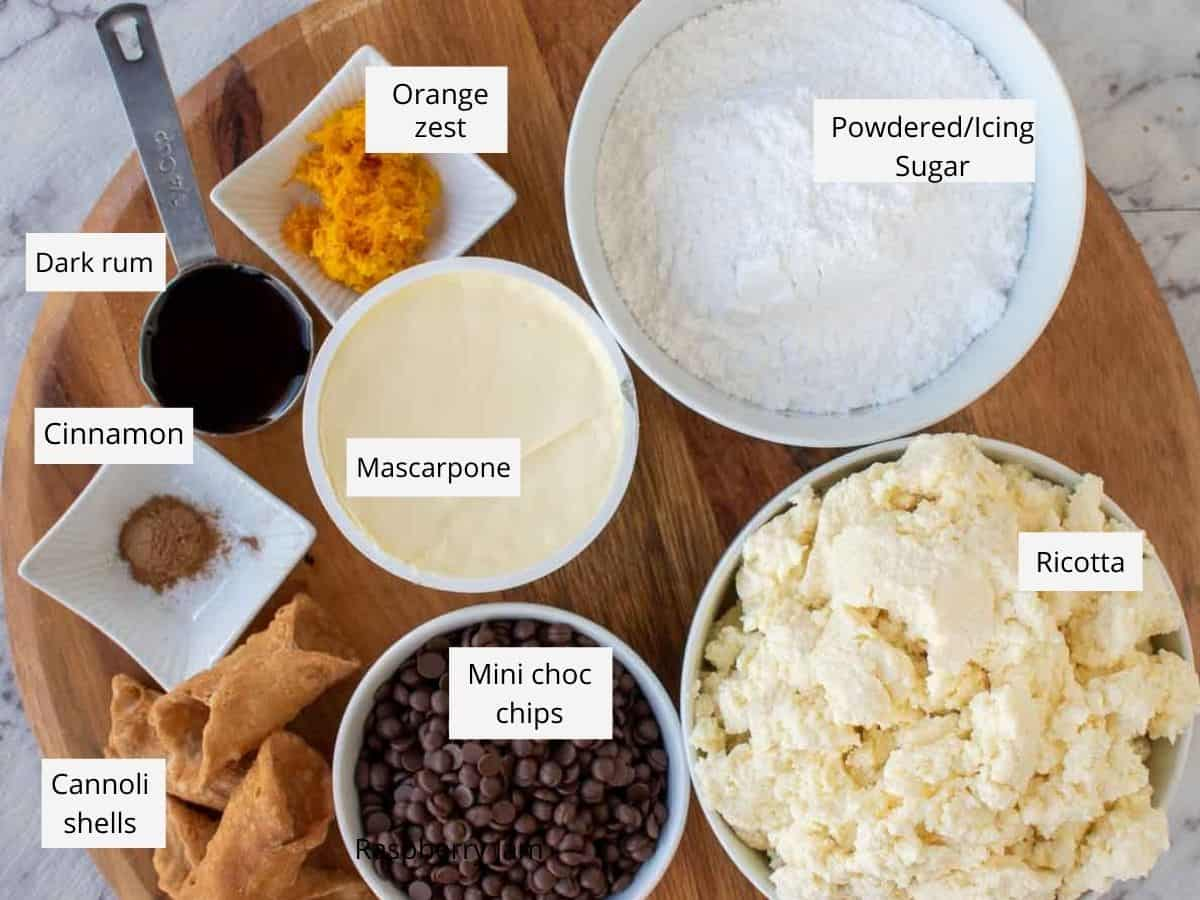 ingredients for cannoli cake filling.