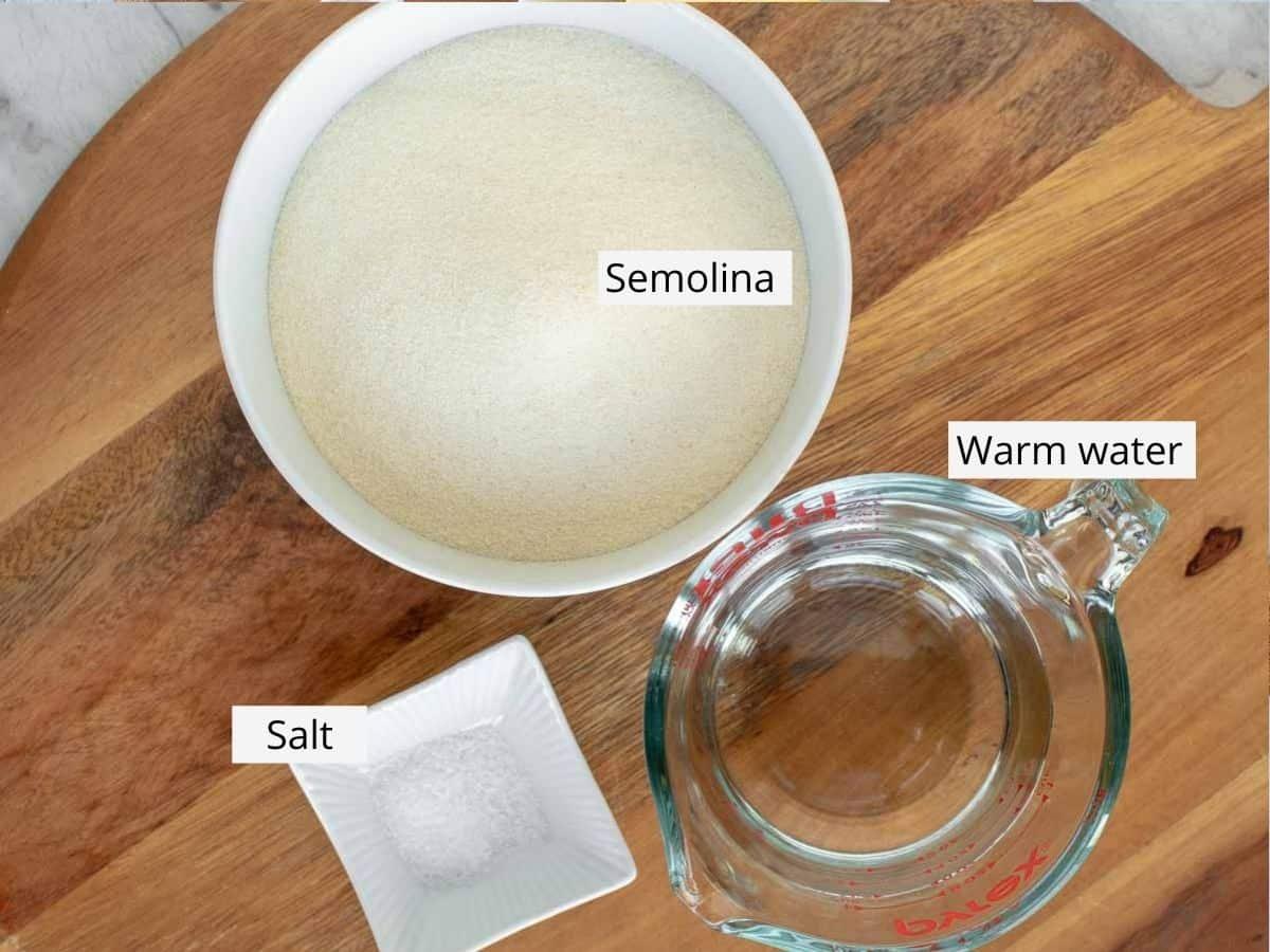 ingredients for homemade cavatelli pasta.