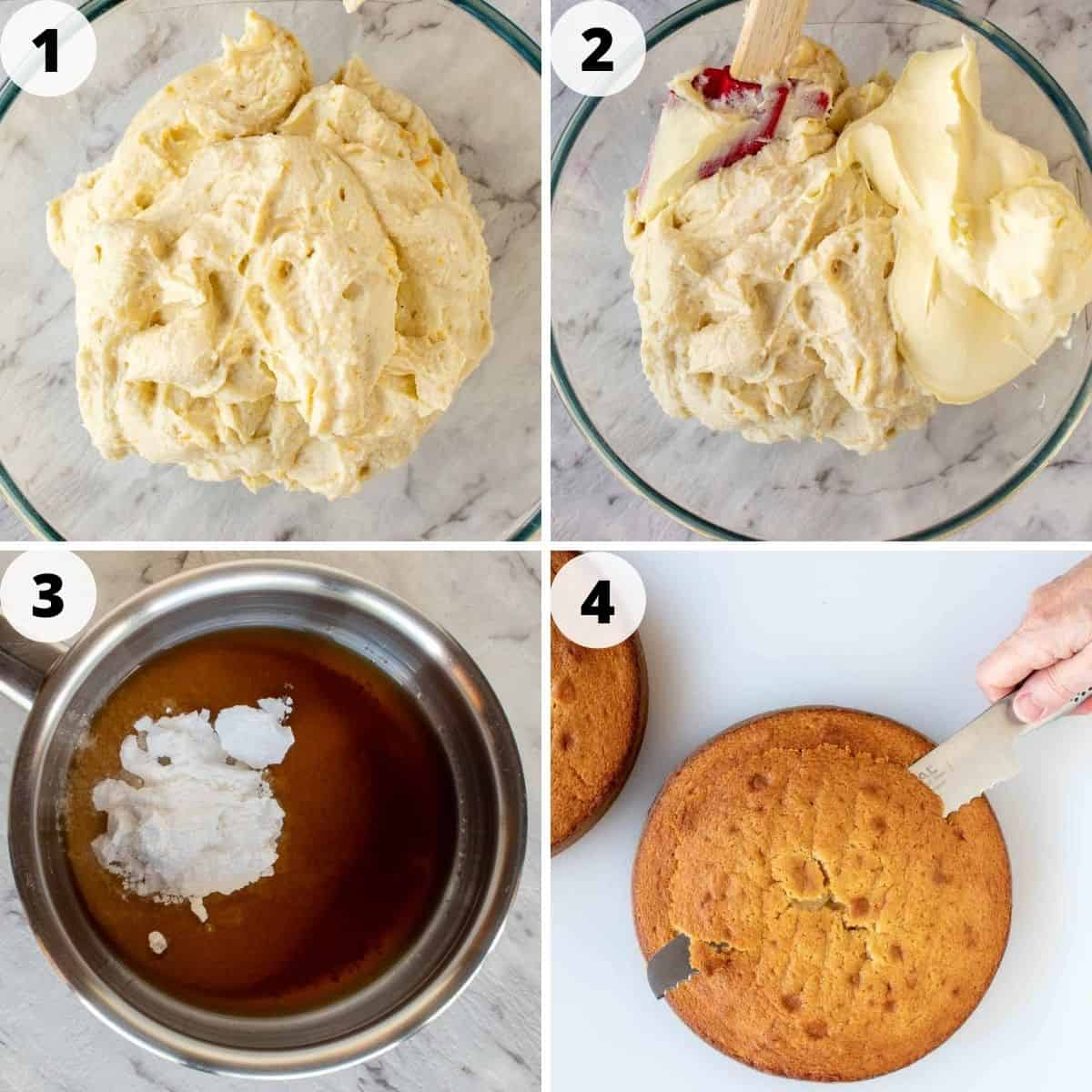 four-step photo collage showing how to make filling and prepare to assemble cannoli cake.