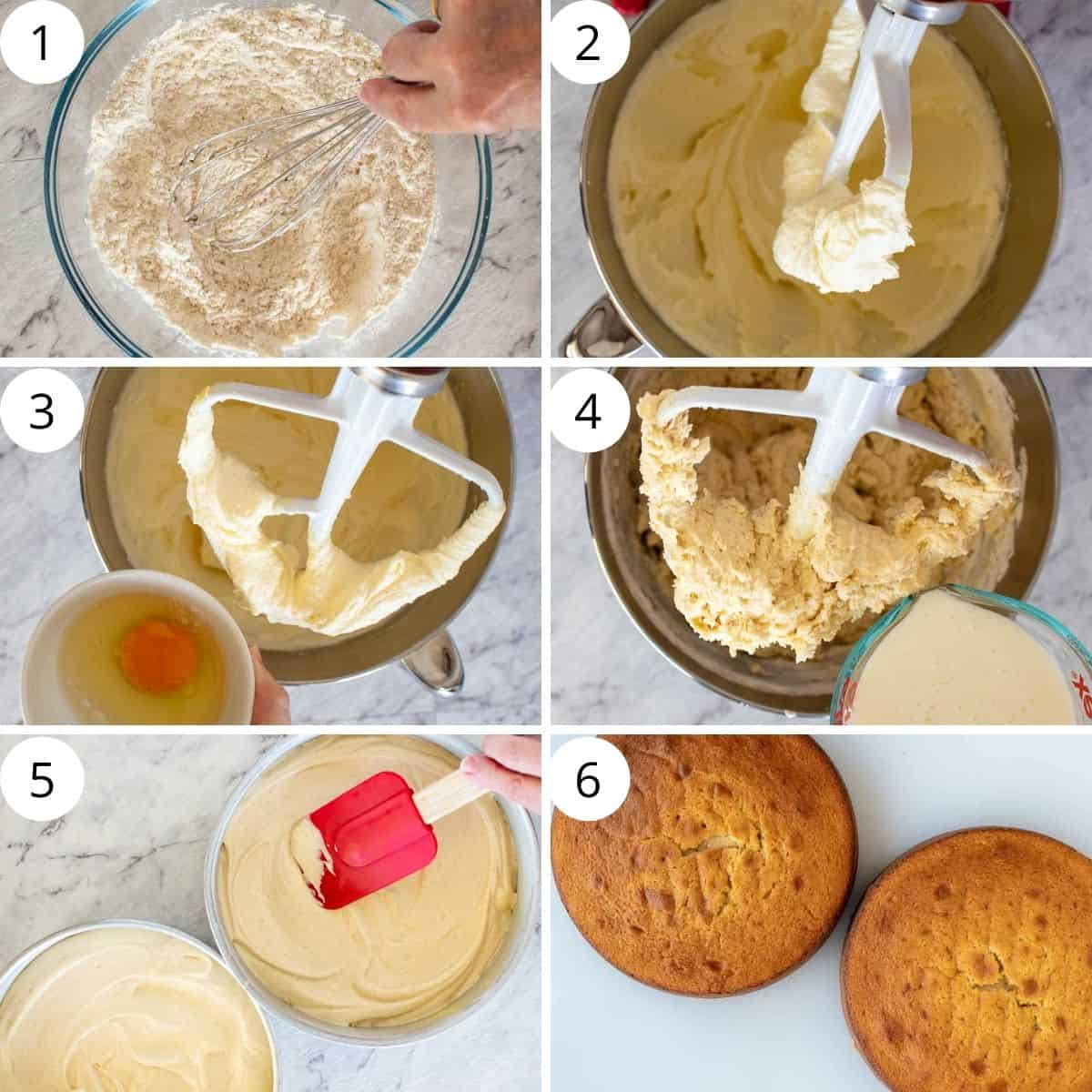 six-step photo collage showing how to bake cannoli cake.
