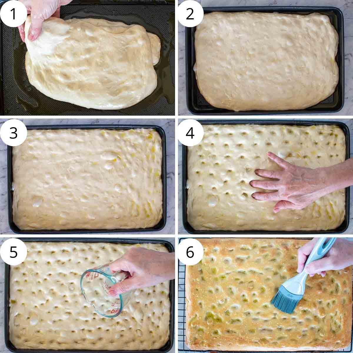 6-step photo collage showing shaping of ligurian focaccia dough.