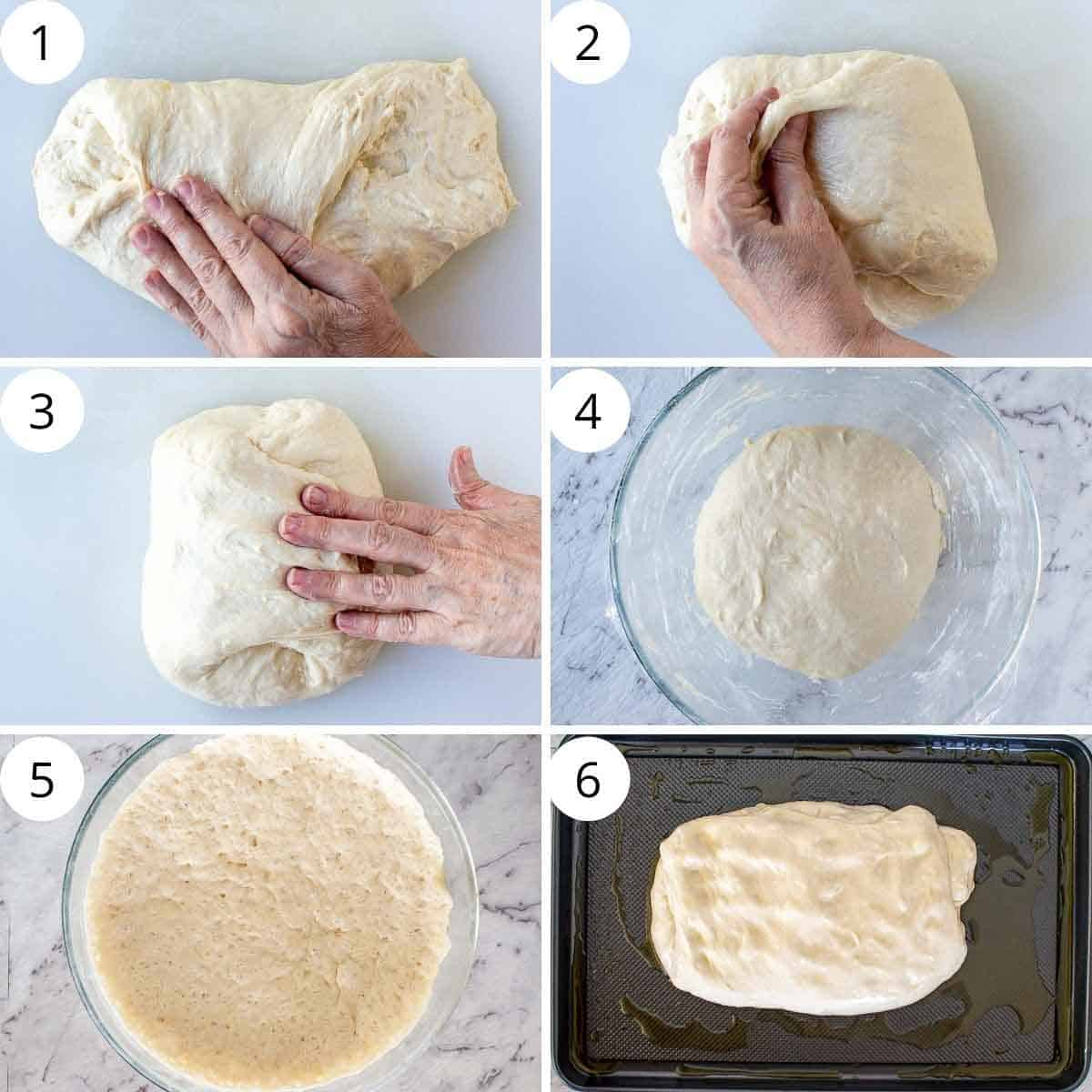 6-step photo collage showing folding and proofing of ligurian focaccia.
