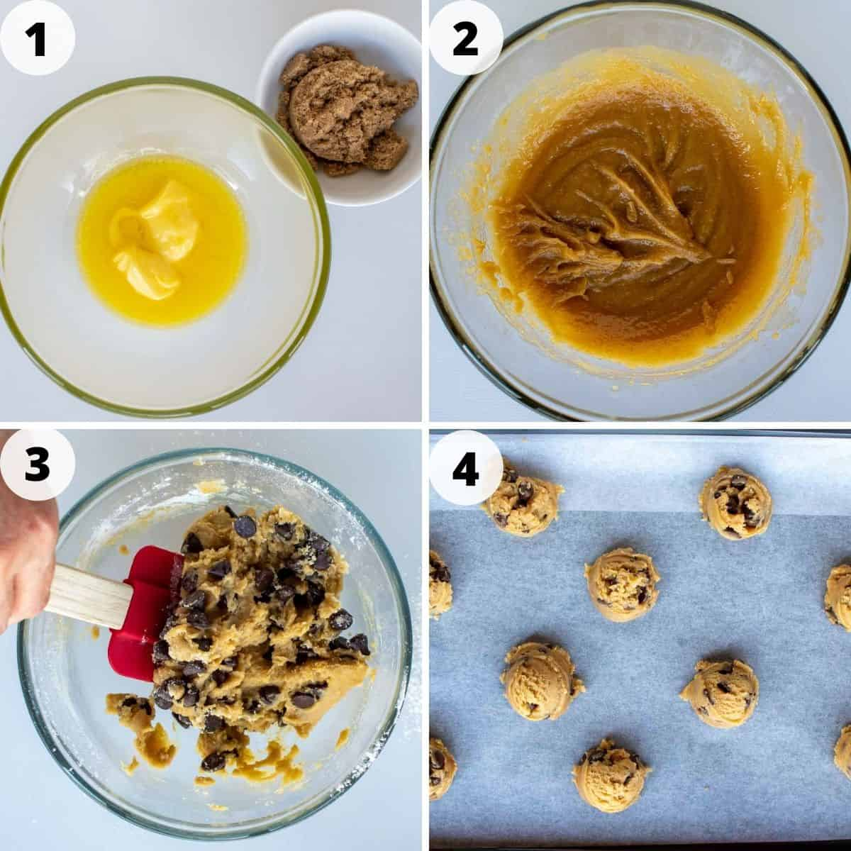 four-step photo collage showing how to make small batch chocolate chip cookies.