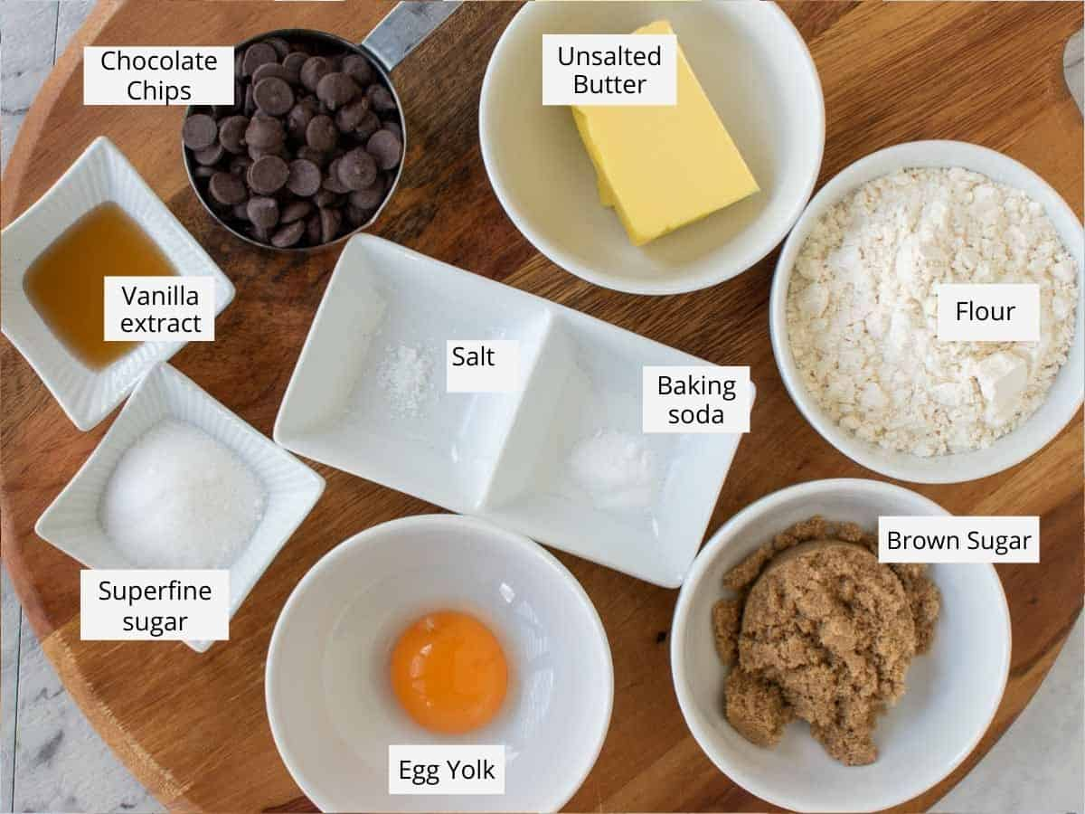 ingredients for small batch chocolate chip cookies.