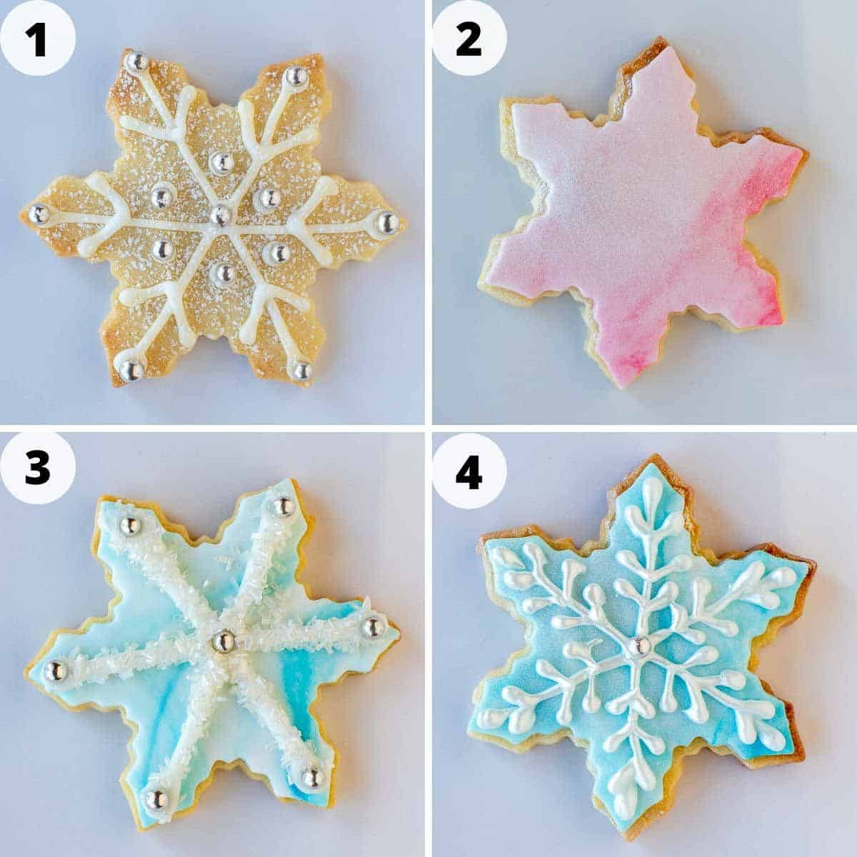 four-step photo collage showing four different ways to decorate sugar cookies.