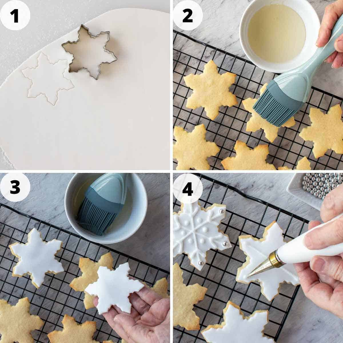 four-step photo collage showing how to decorate sugar cookies.