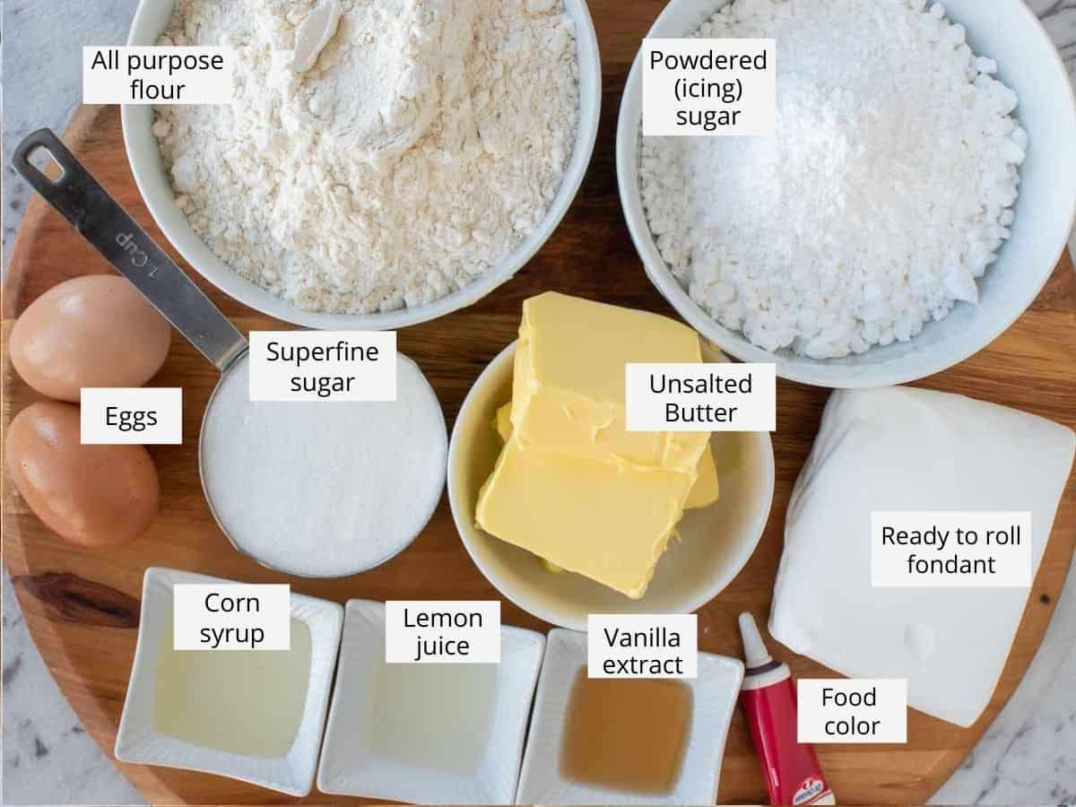 ingredients for snowflake sugar cookies as in the recipe card.