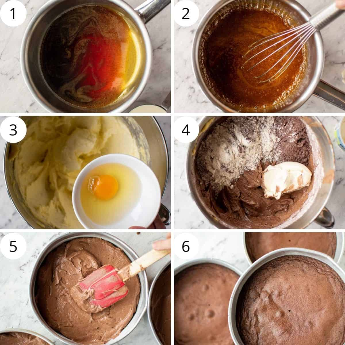 6-step photo collage showing how to make caramel and chocolate cake for chocolate cake with caramel.