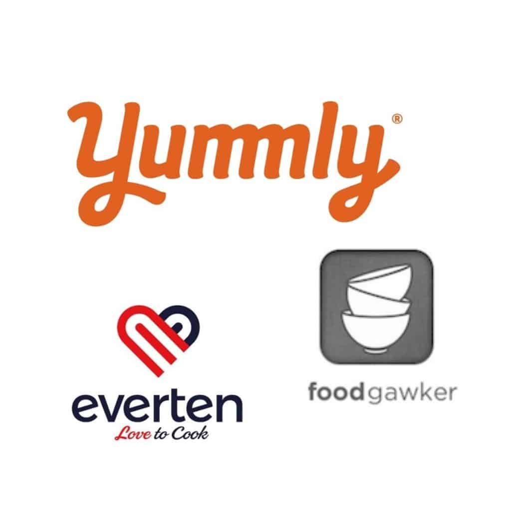 assorted logos - yummly, foodgawker and eveten kitchenware