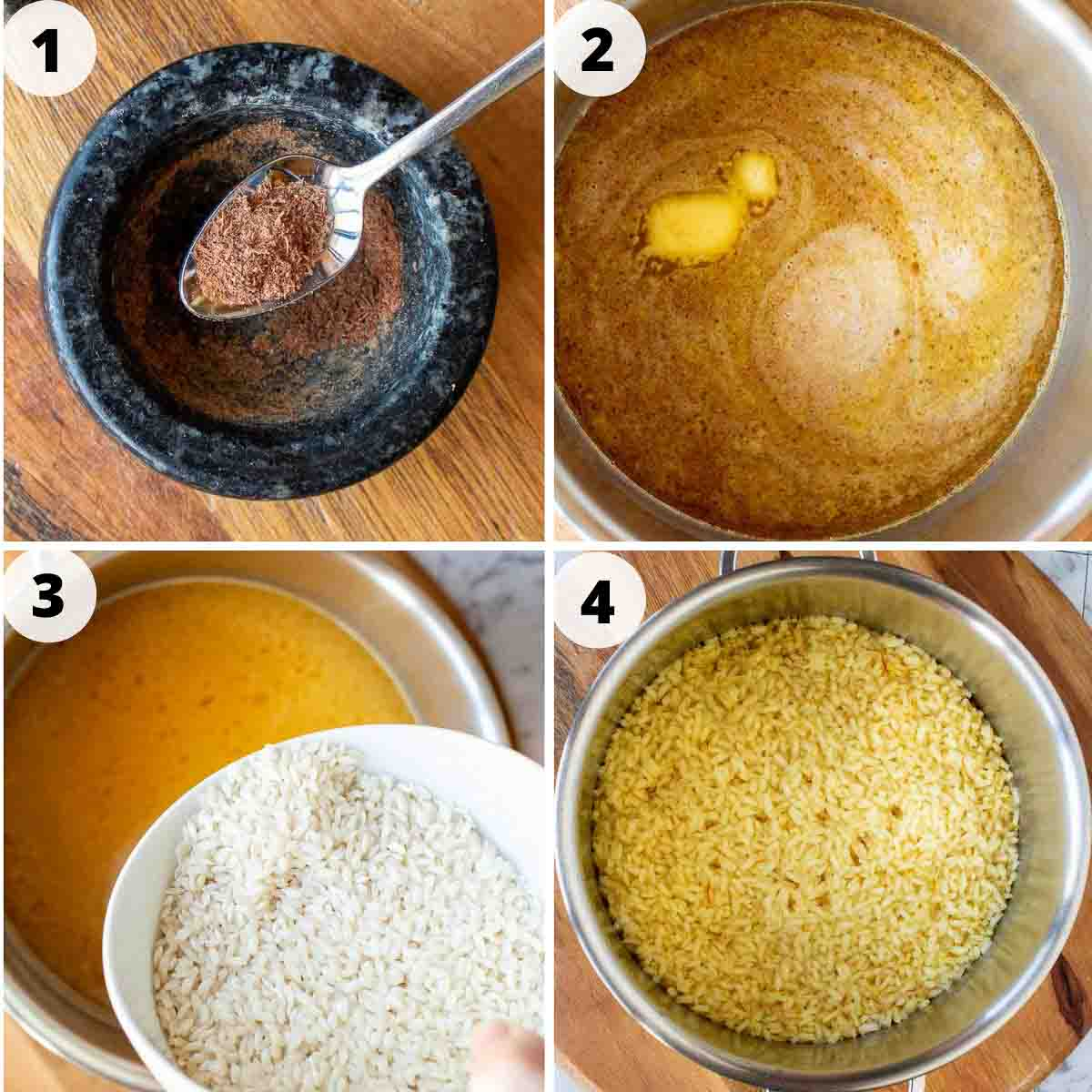 4 step images for preparing rice for arancini