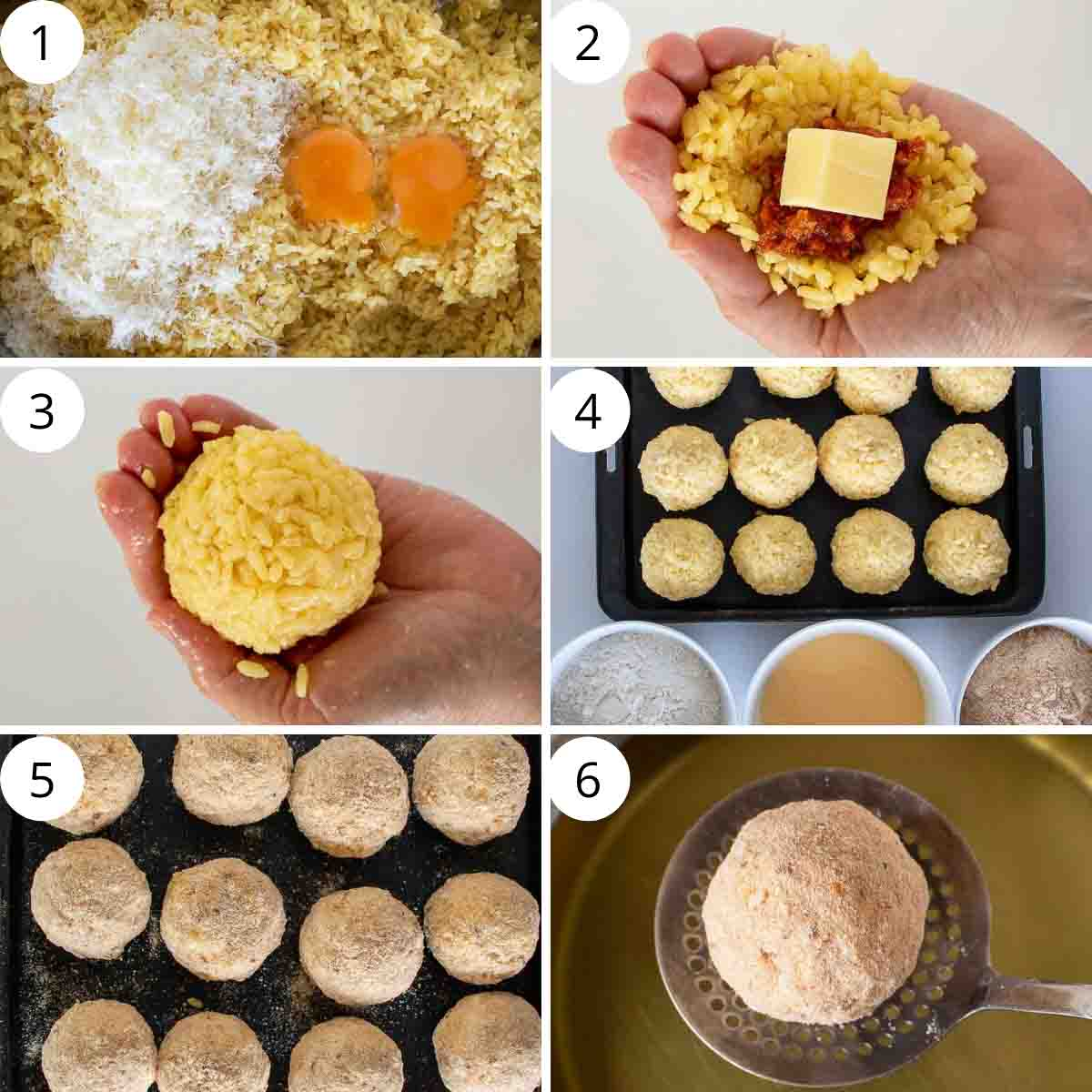 Six image collage. Image 1 - yellow rice with parmesan cheese and eggs. Image 2 - hand with yellow rice, tomato sauce and cube of cheese. Image 3 - yellow rice ball cupped in palm of hand. Image 4 - yellow rice balls on black tray with bowls of flour, egg and breadcrumbs. Image 5 - breadcrumb coated balls. Image 6 - breadcrumb coated ball on slotted stainless steel spoon
