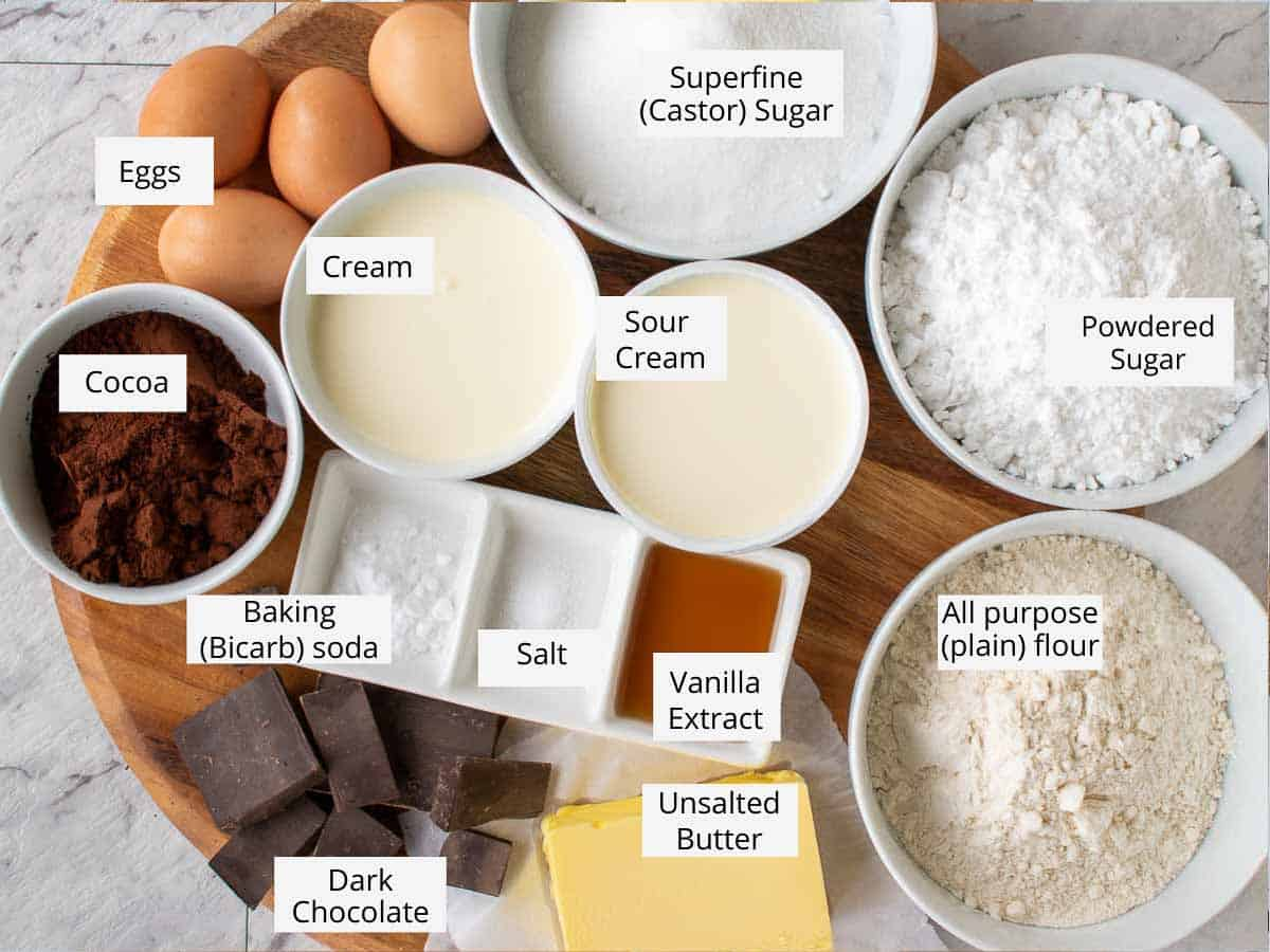 ingredients for chocolate cake with caramel as per recipe.