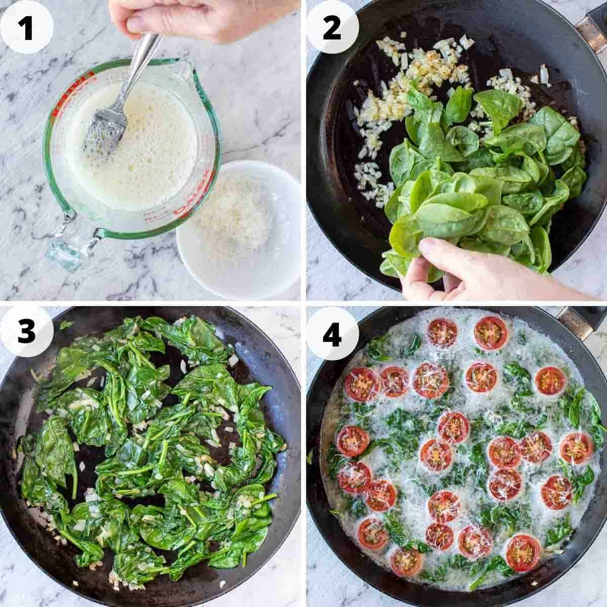 four-step photo collage showing how to make this egg white frittata.