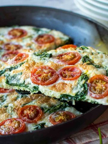 close up of a slice of egg white frittata.
