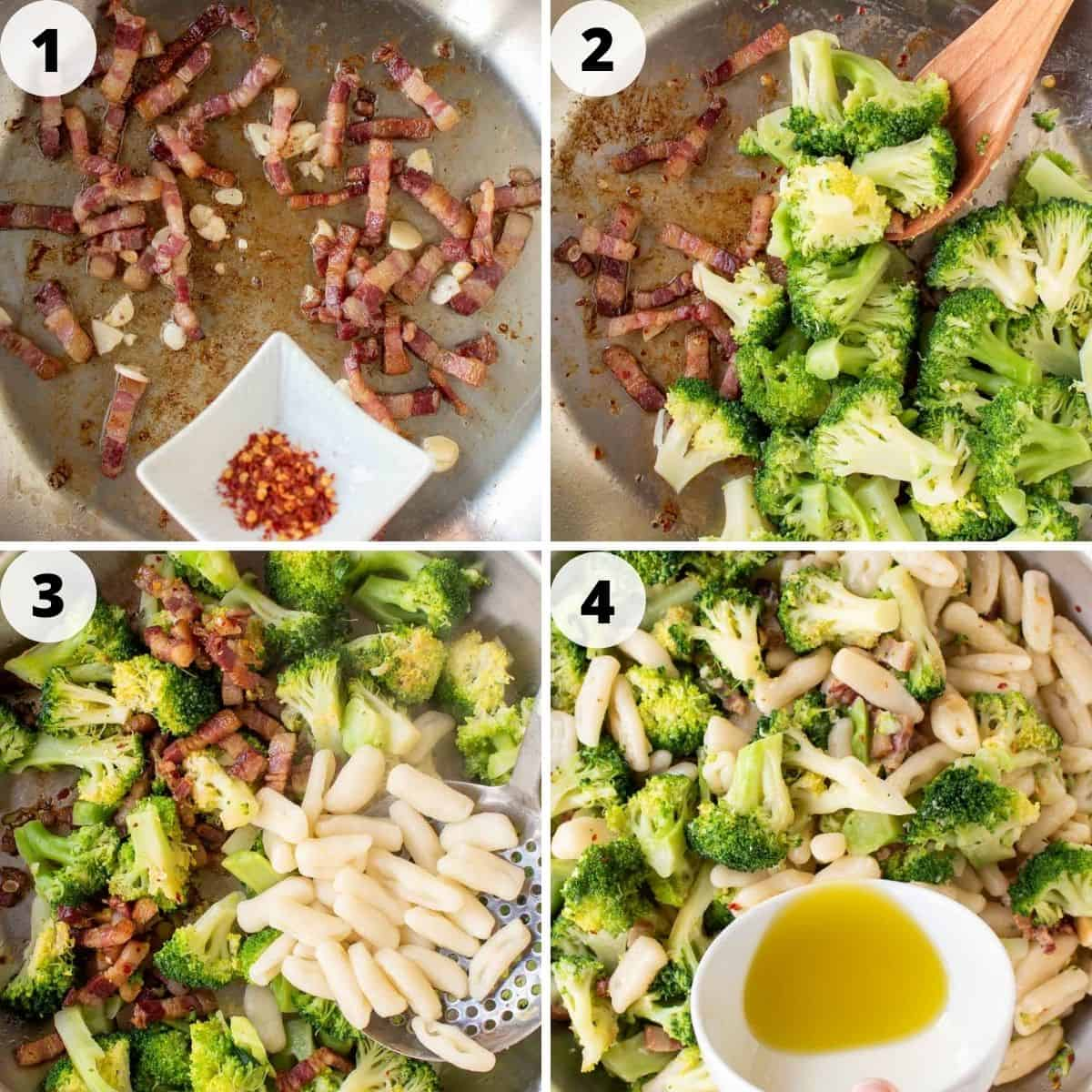 4-step photo collage showing how to make broccoli pasta.